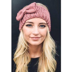 Rose Pink Knit Headband  w/ Bow